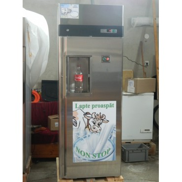 Milk vending machine with button