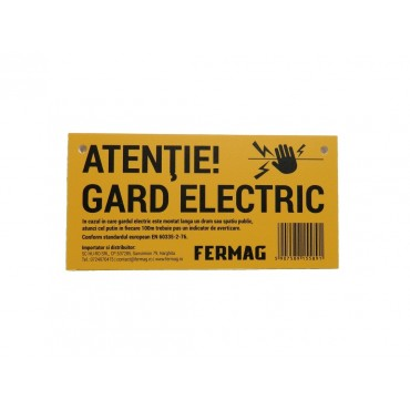 Panou avertizare gard electric